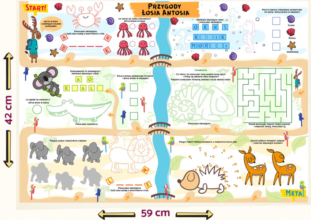 Wymiary przykłądowej mapy edukacyjnej